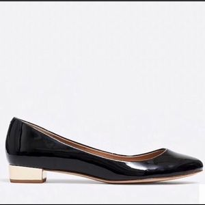 J. Crew Factory Black Patent Flats with Gold Heel